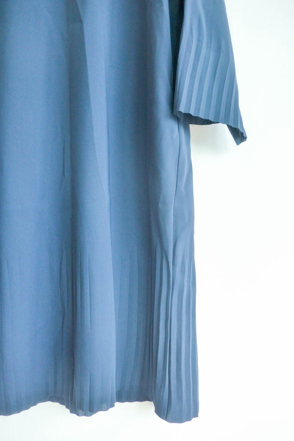 Shift Dress with Pleating at Hem and Sleeves