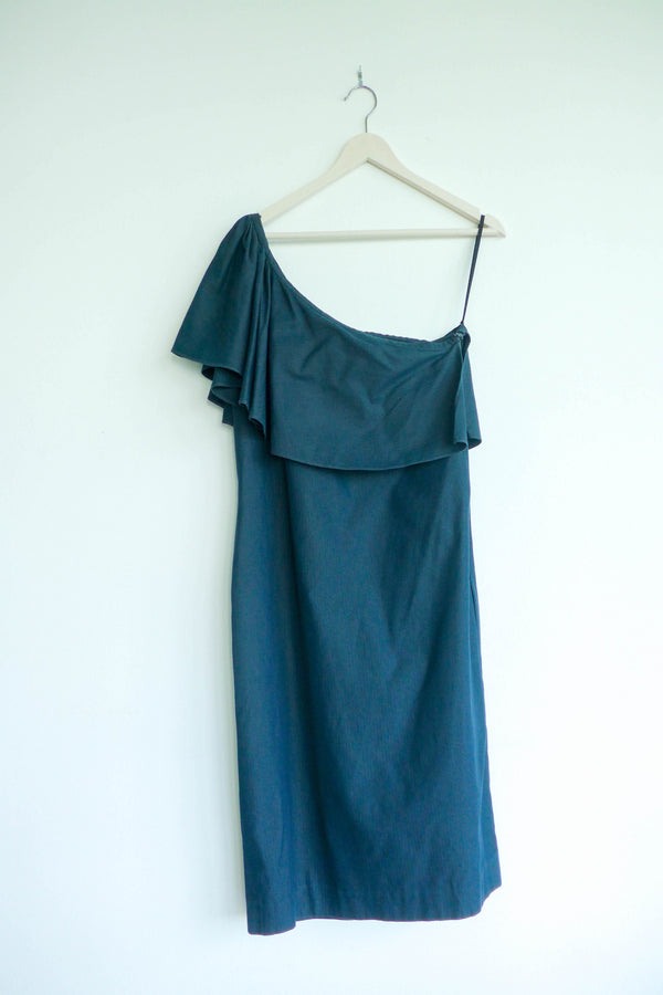 One-shoulder Dress with Ruffle Overlay