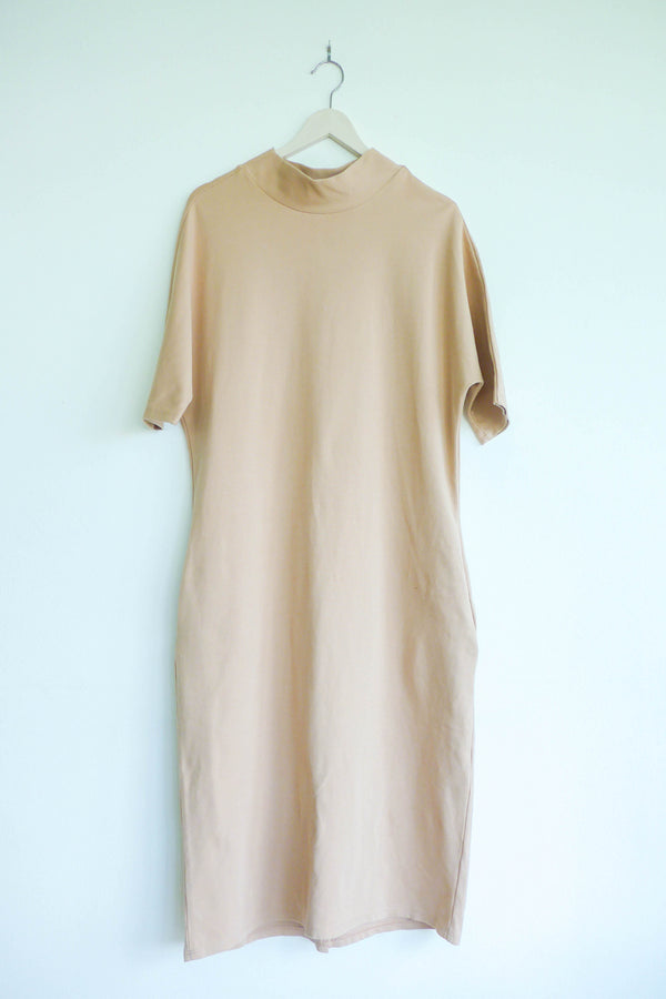 Mock-neck Dress with Batwing Sleeves