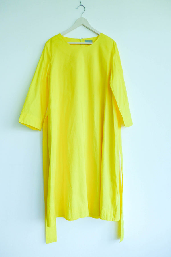 Bright Yellow Cotton Poplin Dress