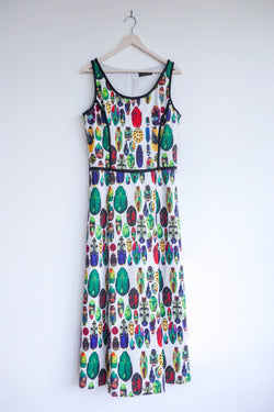 Midi Dress with Leaf and Insect Motifs