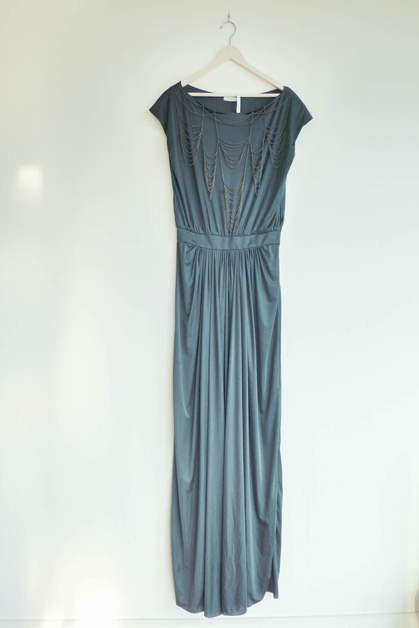 Gown with dainty chain embellishments