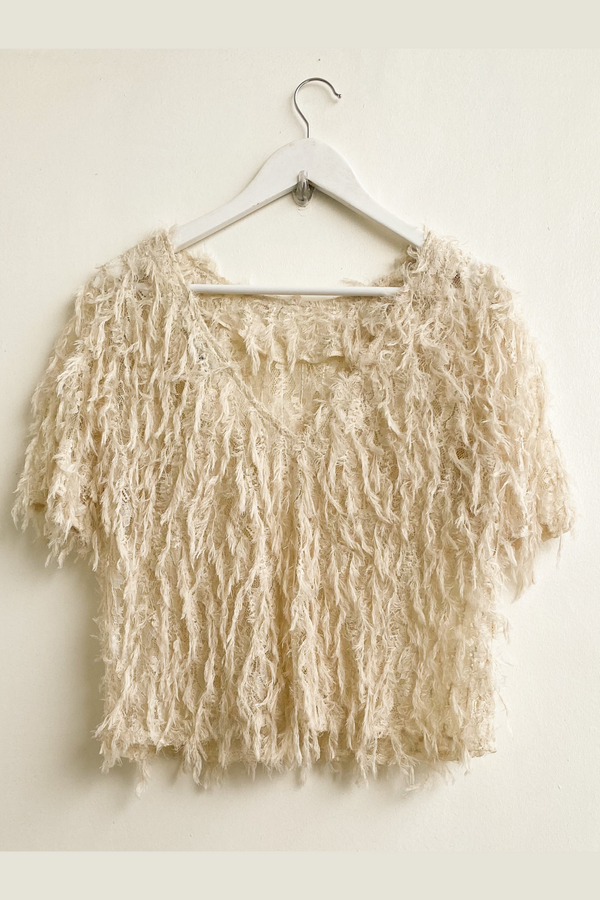 Feather-embellished lace top