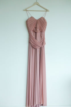 Floor-length pale pink gown