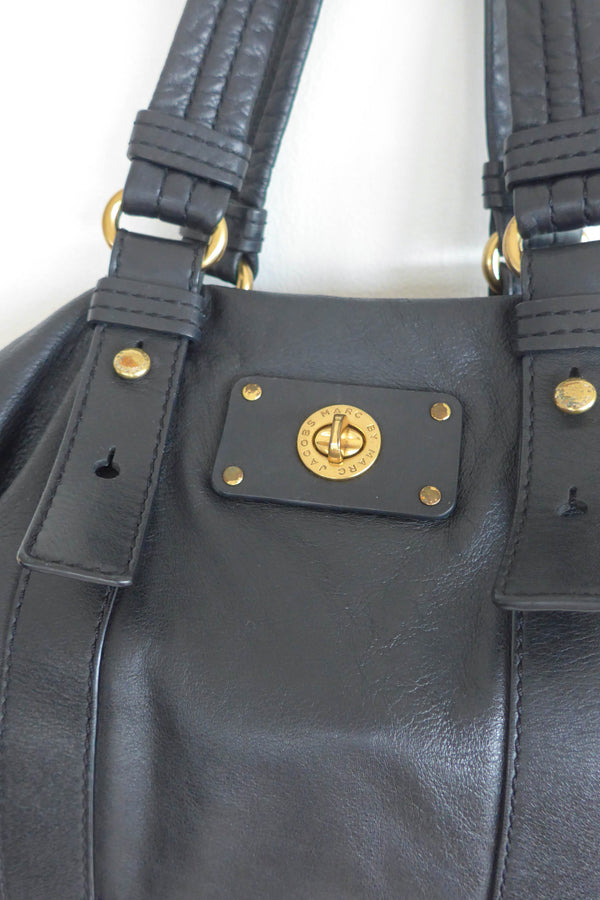 Black leather satchel