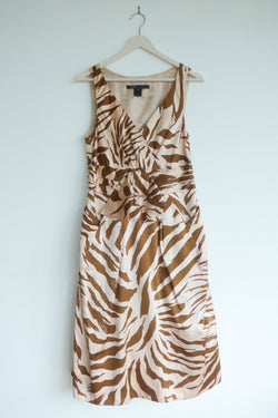Pink and brown animal print dress