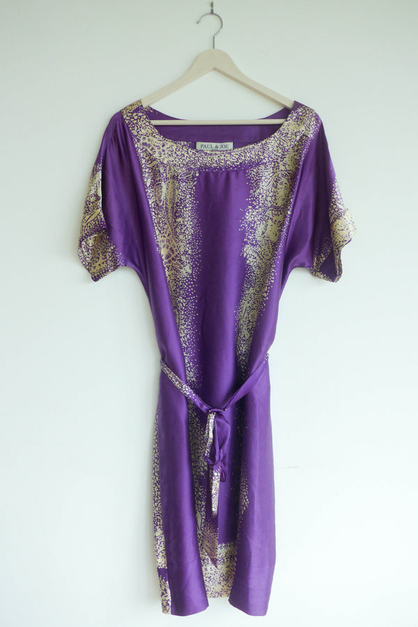 purple silk dress in abstract print