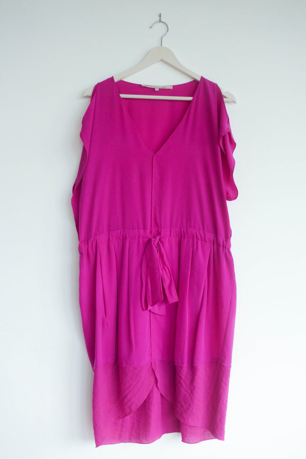 magenta cold-shoulder dress