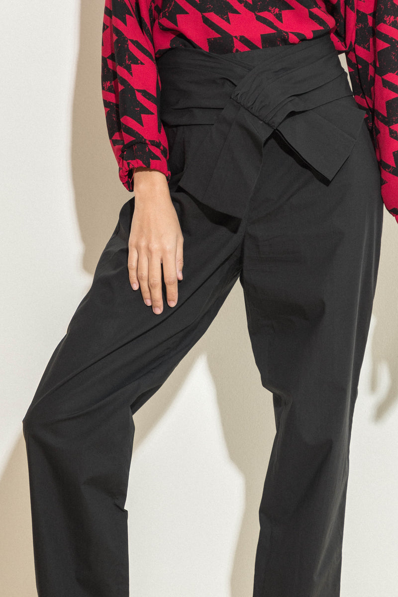 cotton poplin pants with tie in front