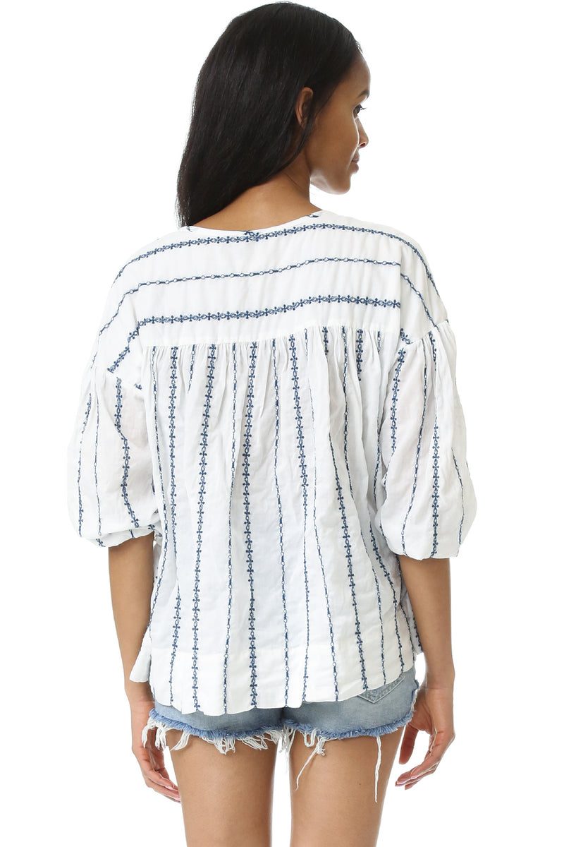 Provence Blouse with embroidered stripes