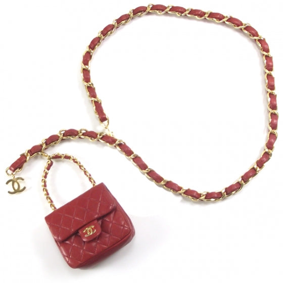 Chanel Lambskin Red Flap Belt Bag