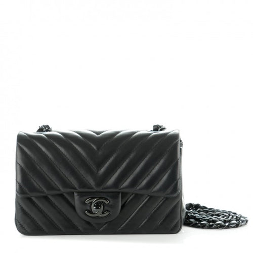 Chanel Lambskin Chevron Quilted 'So Black' Mini