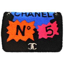 Load image into Gallery viewer, Chanel Shearling No. 5 Comic Silver Hardware Jumbo Flap Bag,