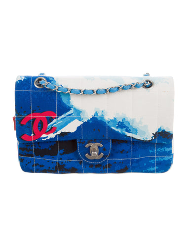 Chanel Blue White Quilted Canvas Beach Surf Flap Bag