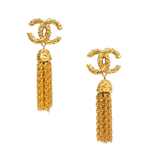 Chanel Vintage CC tassel earrings