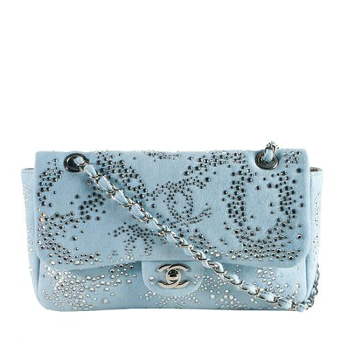 Chanel Light Blue Quilted Denim and Crystal Embroidered Medium Flap Bag