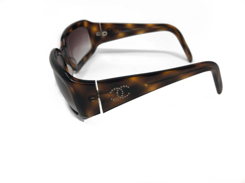 Chanel Brown Tortoiseshell Sunglasses with Rhinestone CC's