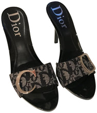 Load image into Gallery viewer, Christian Dior Monogram Blue Canvas 'CD' Buckle Heels