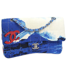 Load image into Gallery viewer, Chanel Blue White Quilted Canvas Beach Surf Flap Bag