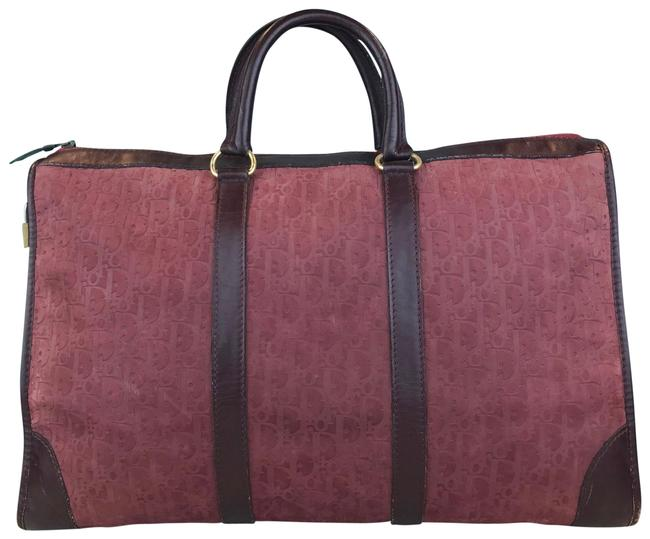 Dior Maroon Trotter Suede Travel Bag