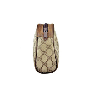 VINTAGE GUCCI BROWN 'GG' WEB POUCH