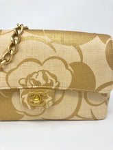 Load image into Gallery viewer, Chanel Woven Raffia Camellia Medium Flap