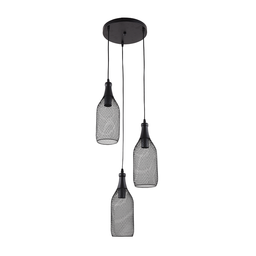 05262/3 Black Metal Pendant Lamp - Mandaue Foam
