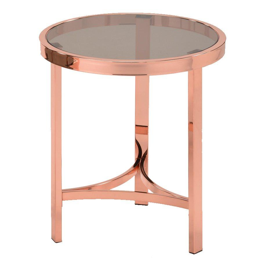 Chanel Side Table - Rosegold + Glass - Mandaue Foam