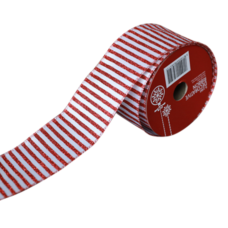 1515004C-W/R Christmas Ribbon 10 Yards Roll ( White/Red )