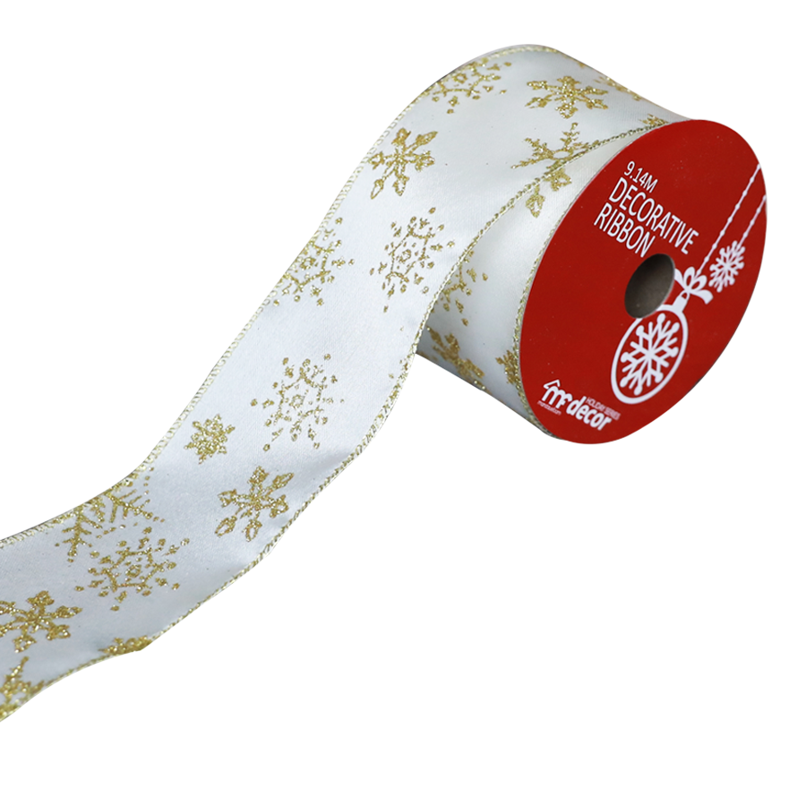 1711404C-C/G Christmas Ribbon 10 Yards Roll ( Cream/Gold )