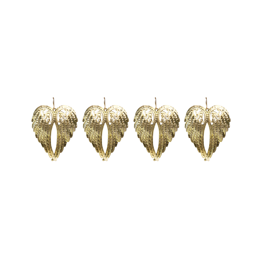 18TB042 Angel Wings Christmas Décor Set of 4 (Gold+White Glitter)