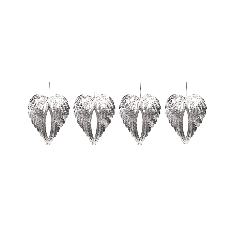 18TB042 Angel Wings Christmas Décor S/4 (Silver+White Glitter)