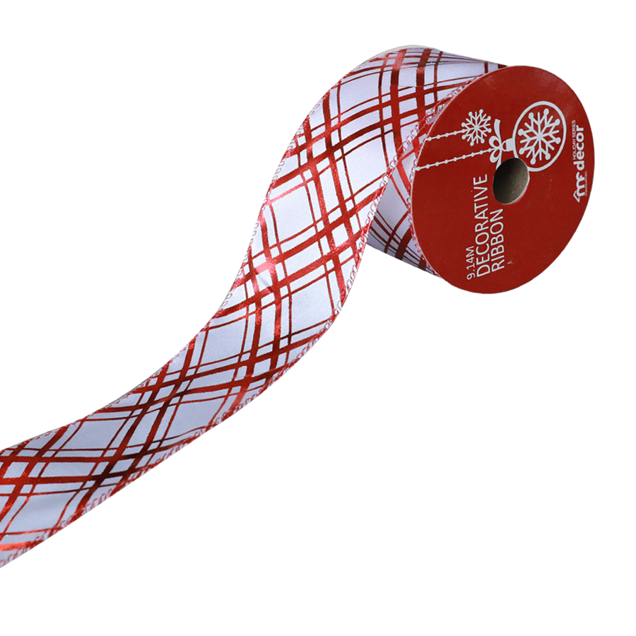 1900802C-W/R Christmas Ribbon 10 Yards Roll ( White/Red )