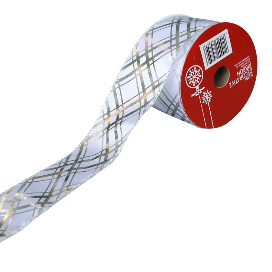 1900802C-W/S Christmas Ribbon 10 Yards Roll ( White/Silver )