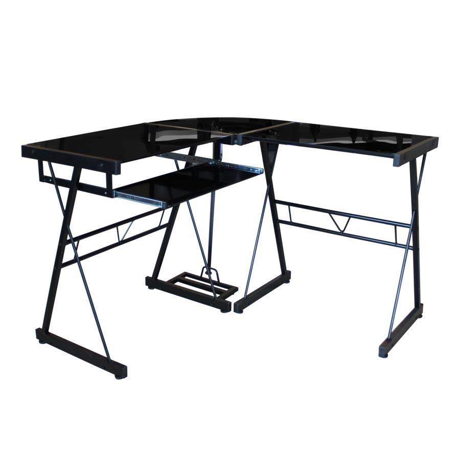 Sami Computer Desk - Black Glass