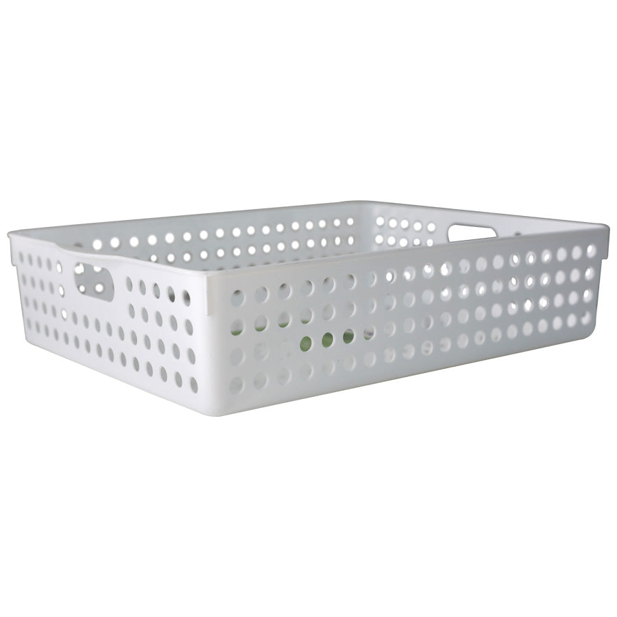 3040 Short Basket with Handle - White