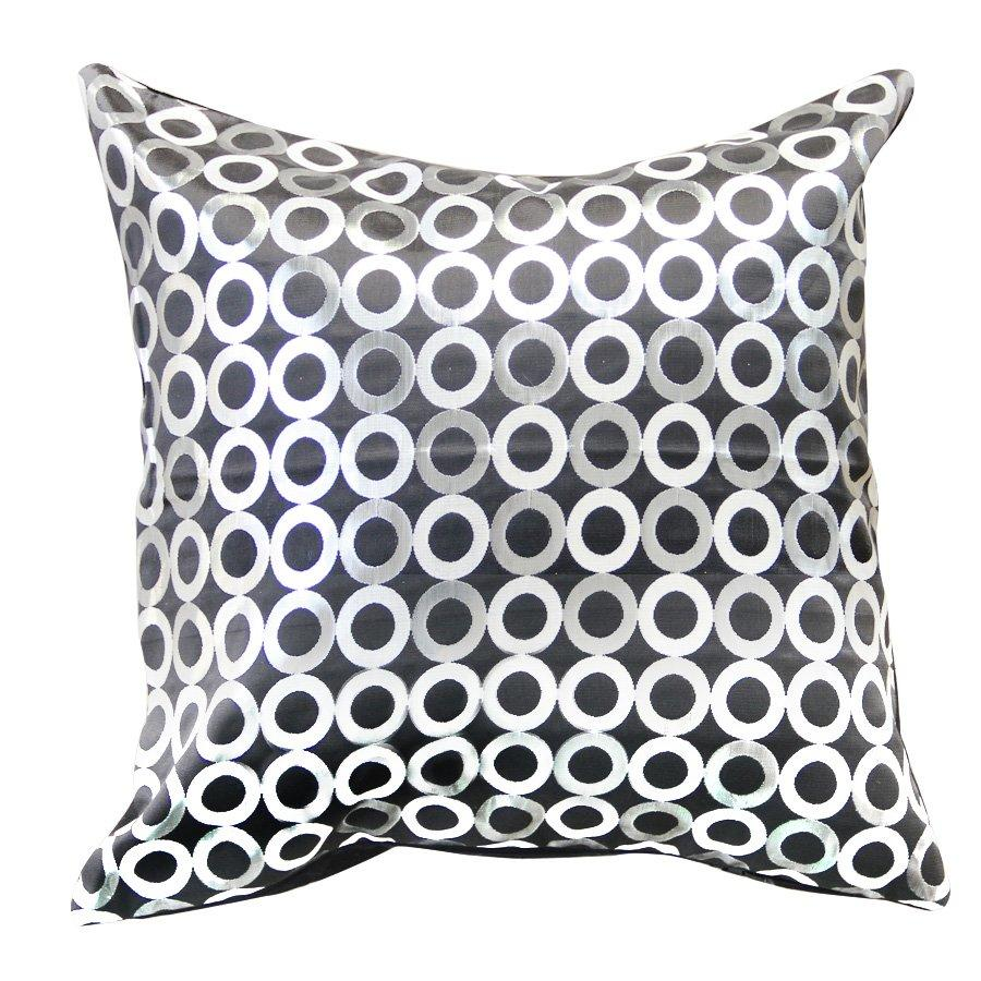 R0040-TH678-1 Black Circle jacquard throw pillow case only 43x43cm