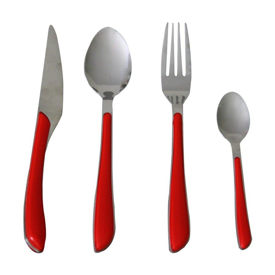 HZX-471-R SS+PP CUTLERY-RED 12PC/SET