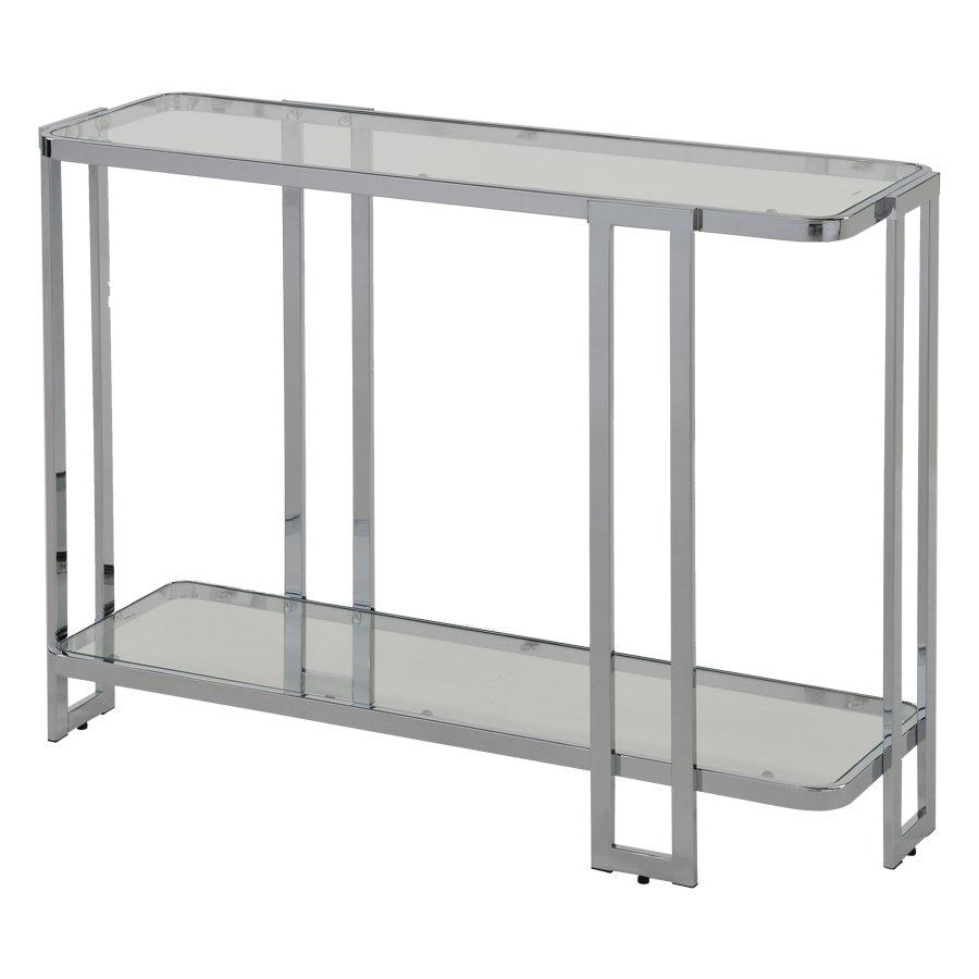 Aisha Console Table - Chrome + Glass
