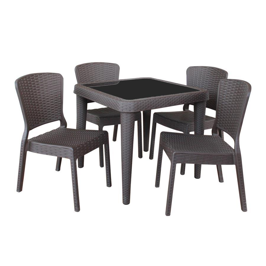 Santi 4 Seater Plastic Outdoor Dining- Dark Brown
