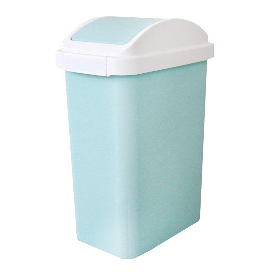 8503-B Blue 12L Plastic Flip Trash Can