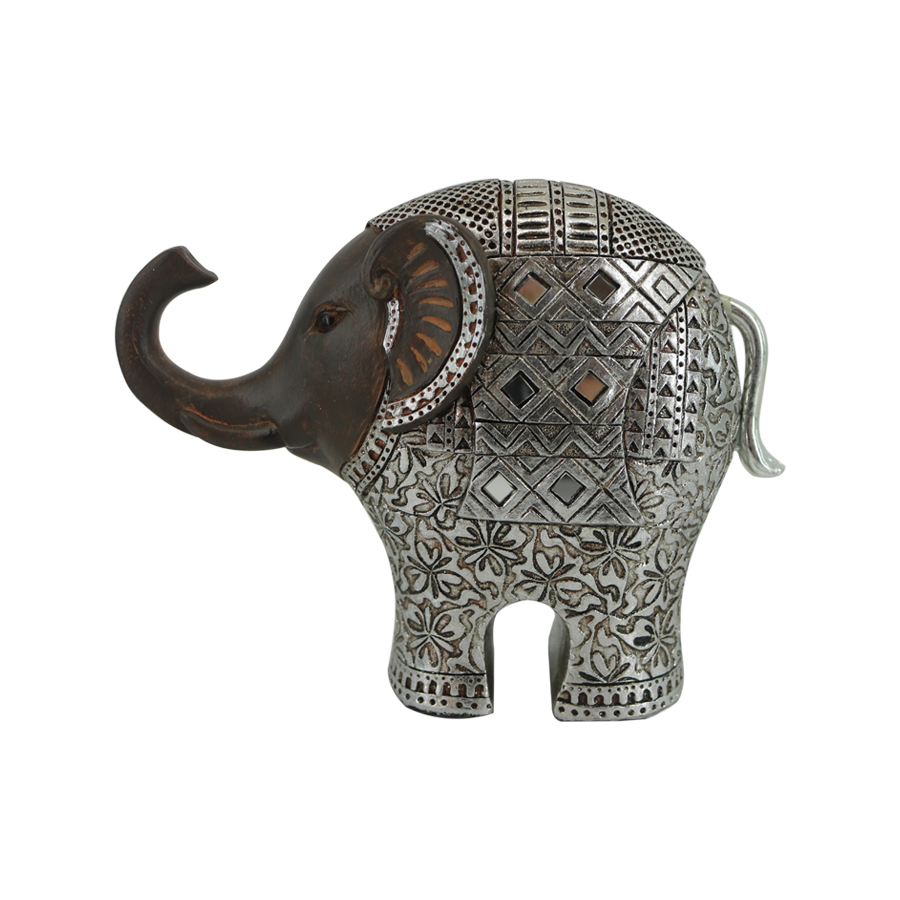 Resin Vintage with Silverlining Small Elephant