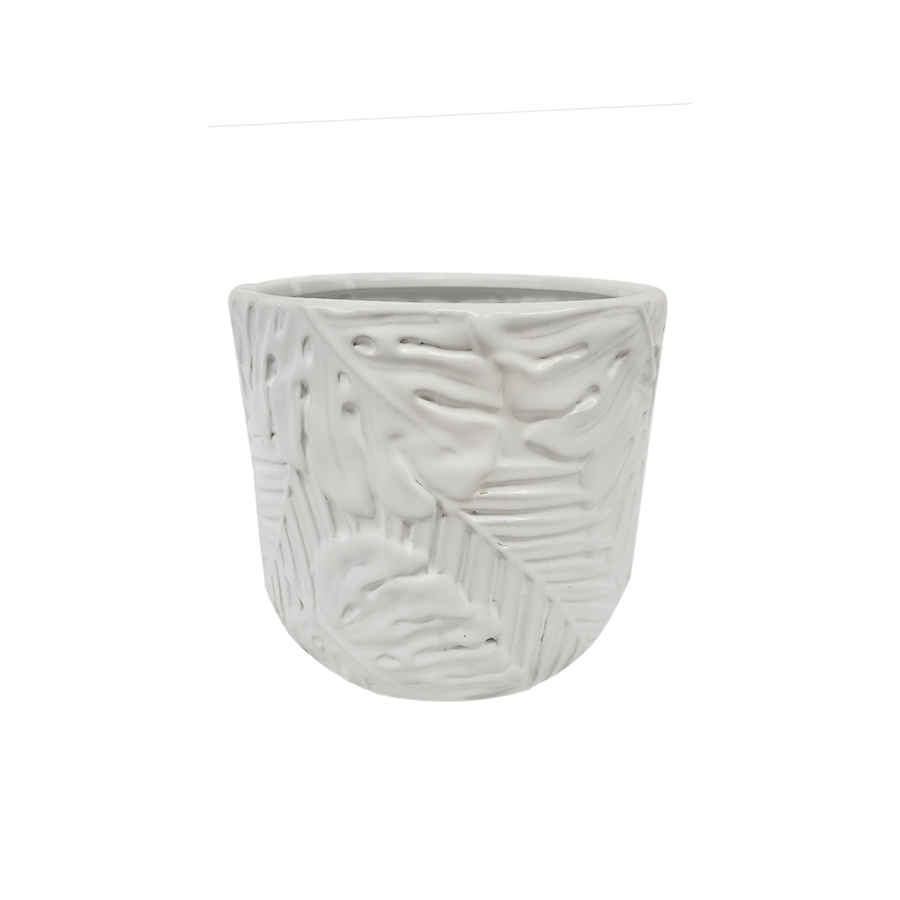 Leaf Design White Vase