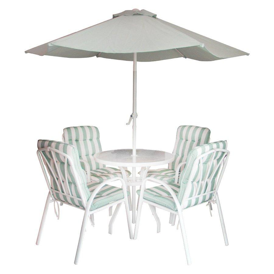 Rily 4 Seater  W/ Umbrella- Stripe Green