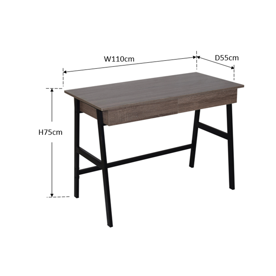 Arjun Office Desk - Black Oak
