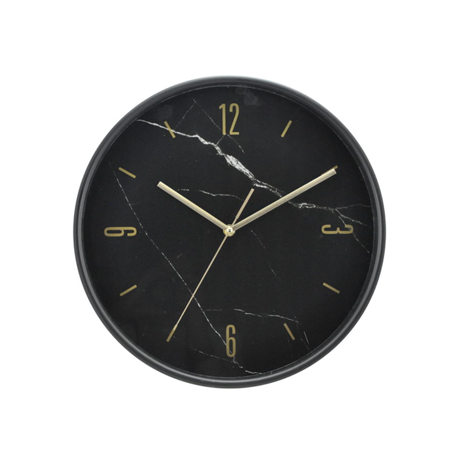 Black Marble Plastic Wall Clock 6965
