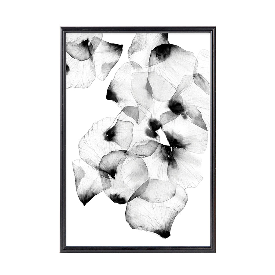 Black With Petals Framed Art