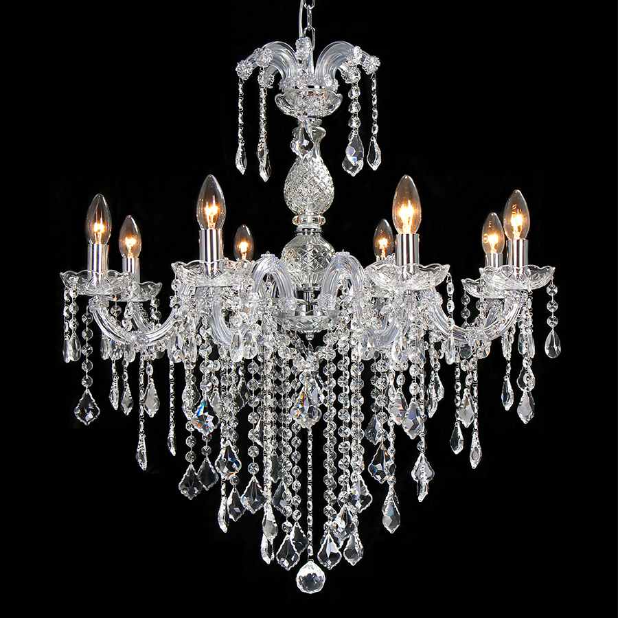 14004/8 Cr + Cl Clear Crystal Chandelier