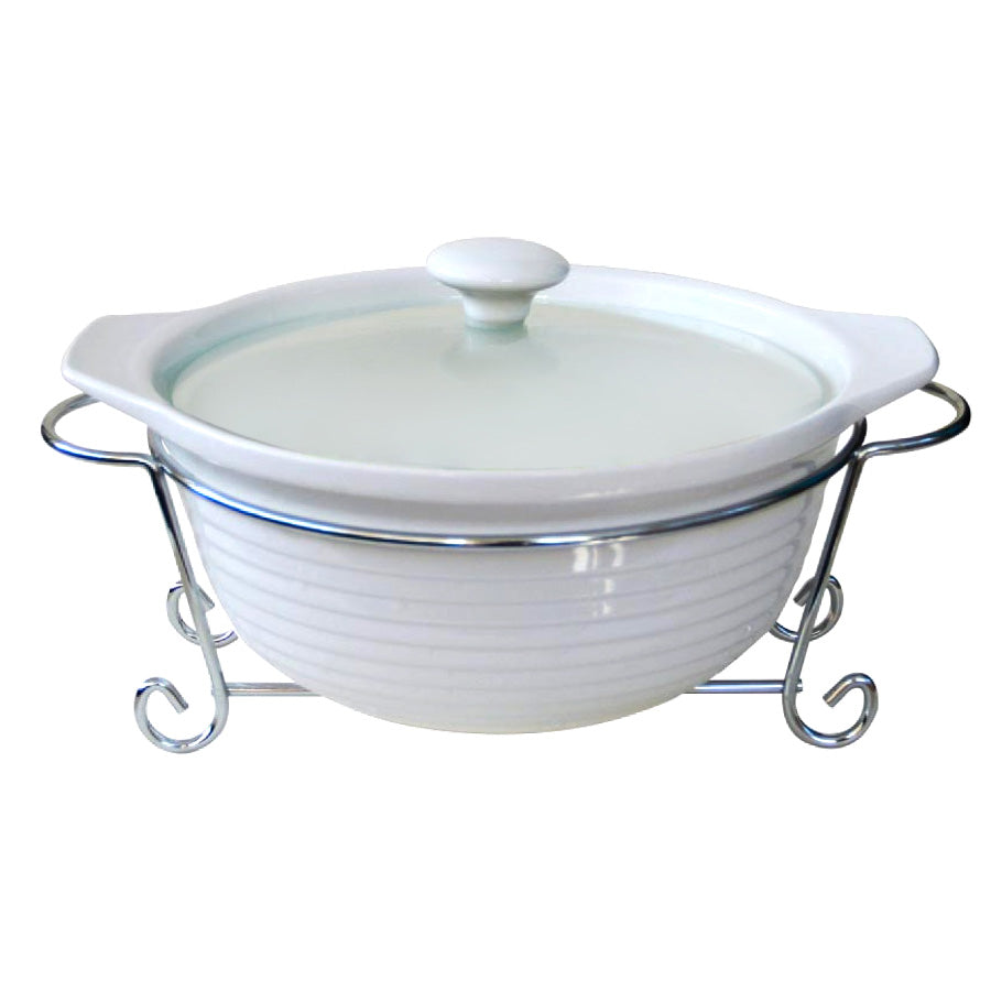 "CX9766 11"" Round Ceramic Casserole With Stand"