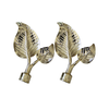 CZ-063 Shinny Gold Leaves End Cap 19mm Pair